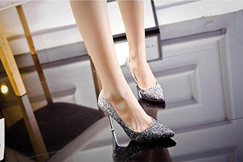 Gradiente Blacksilver9cm 34 Zijin Sequined Tacones Altos Highxe Zapatos Novia De Tacón Alto 38 Altos Banquete O68wxpwPq