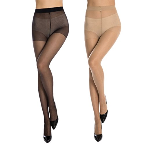 MANZI Women's Ultra-thin Sheer Control Top 10 Denier with Comfort Stretch(2 Pairs) Size L