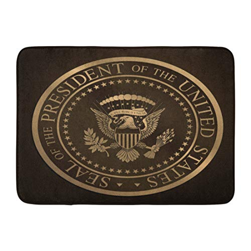 "Emvency Doormats Bath Rugs Outdoor/Indoor Door Mat Highly Detailed Gold Embossed Monochromatic The Official Seal of President United States Editorial Bathroom Decor Rug Bath Mat 16"" x 24"""