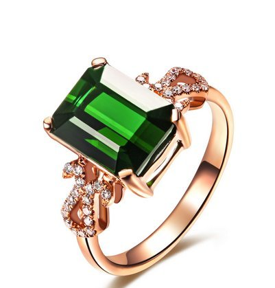 Gowe Queen zodiaque Gem Fire Signes Legend Naturel 3.0 CT Tourmaline verte Diamant Émeraude Bague de cocktail Or rose 18 K