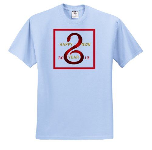 Florene Holiday Graphic - Happy Chinese New Year As The Snake Is 2013 - T-Shirts - Adult Light-Blue-T-Shirt Small