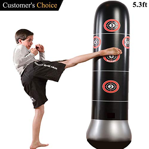 Eforoutdoor Fitness Punching Bag Heavy Punching Bag Inflatable Punching Tower Bag Freestanding Children Fitness Play Adults De-Stress Boxing Target Bag 5.25ft by Eforoutdoor