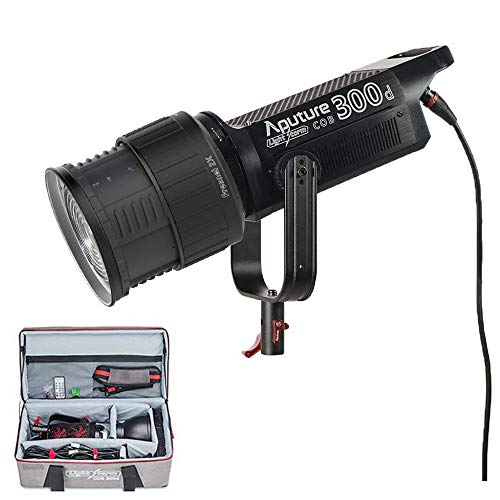 Aputure COB 300D LS C300D Daylight Balanced Led Video Light with Aputure Fresnel 2X Lens Mount to Reach 78000lux@1m CRI95+ TLCI96+ 2.4G Remote Control 18dB Low Noise V-Mount Plate with ()