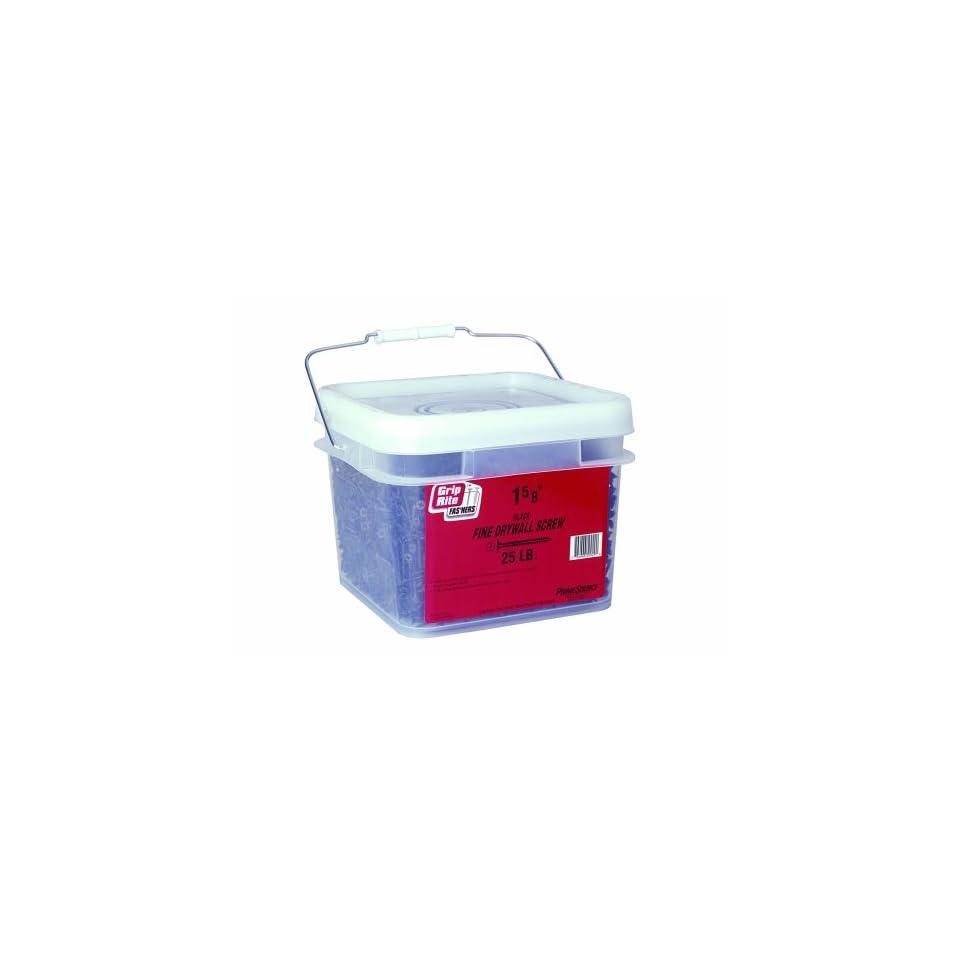Grip Rite 158DWS25BK 6 by 1 5/8 Inch Fine Thread Drywall Screws with Bugle Head, Black, 25 Pound Bucket