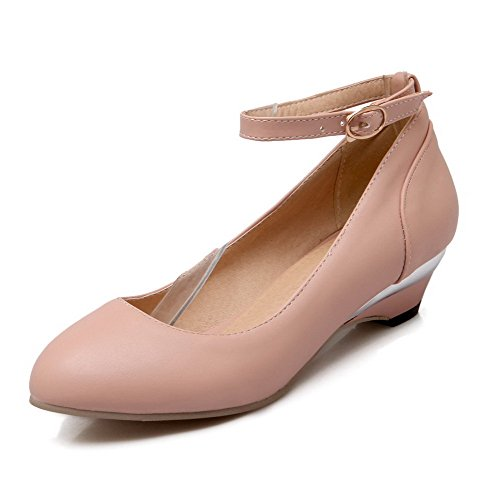 VogueZone009 Women's Round Closed Toe Low-Heels Soft Material Solid Buckle Pumps-Shoes Pink