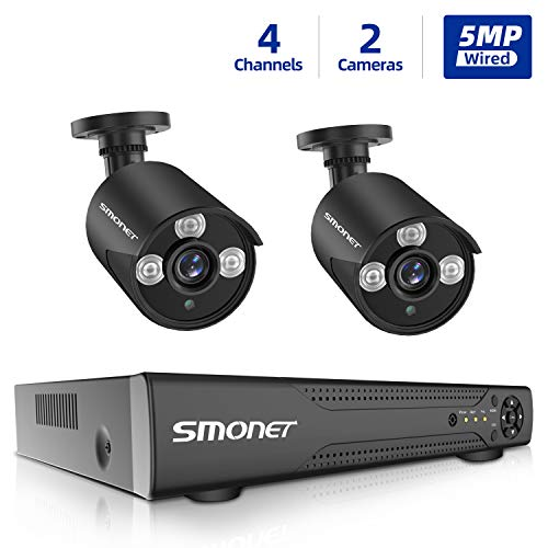 SMONET 5MP Security Camera System,4 Channel Home Security Camera Systems 5-in-1 5MP DVR Camera System, 2 Wired 5MP Indoor Outdoor Waterproof Surveillance Cameras with Night Vision Remote View