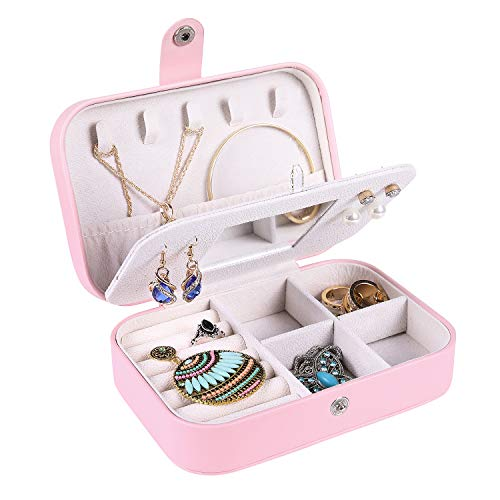 misaya Travel Jewelry Box Case - Women Small 2 Layer Jewelry Holder PU Leather Jewelry Organizer for Earring Ring Necklace with Mirror, Pink