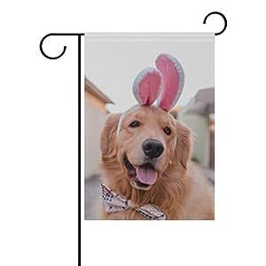 vantaso jardín bandera decorativa como de perro Golden Retriever conejo poliéster impresión a doble cara Fade prueba para patios al aire libre jardín 12X 18inch