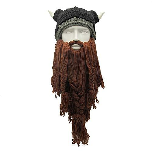 Barbarian Vagabond Viking Beard Beanie Horn Hats Handmade Warm Birthday Funny Gag Halloween Cap -