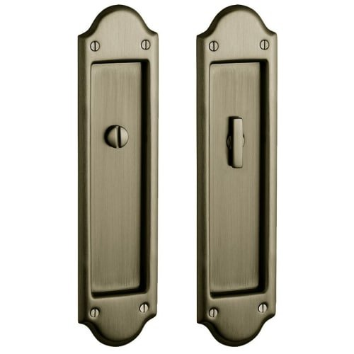 (Baldwin PD016.PRIV Boulder Privacy Pocket Door Set with Door Pull from the Estat, Satin Brass and Black)