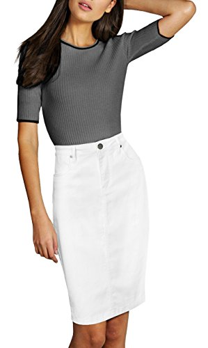 Stretch Denim Pencil Skirt - Lexi Womens Pull On Stretch Denim Skirt SK19411X White 14