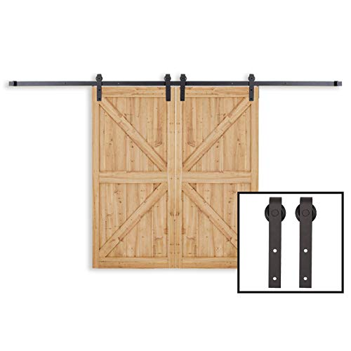 PENSON & CO. WBHome-0223 13 FT Country Double Barn Wood Steel Sliding Door Hardware Set Antique Style Track Kit Black
