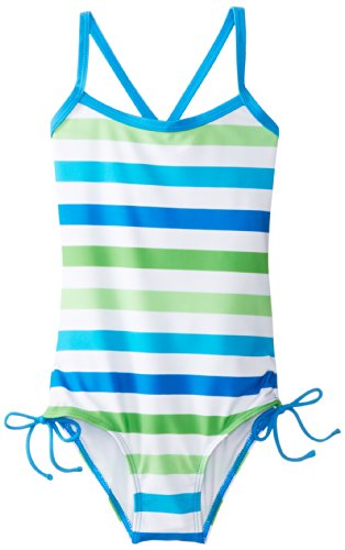 Kanu Surf Little Girls' Sassy One Piece Swimsuit, Blue/Green, 5