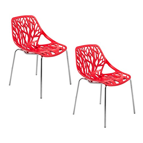 ModHaus Modern Red Stencil Birch Tree Sapling Chairs with Chrome Legs - Set of 2 Includes ModHaus Living (TM) Pen Eileen Gray Side Chair
