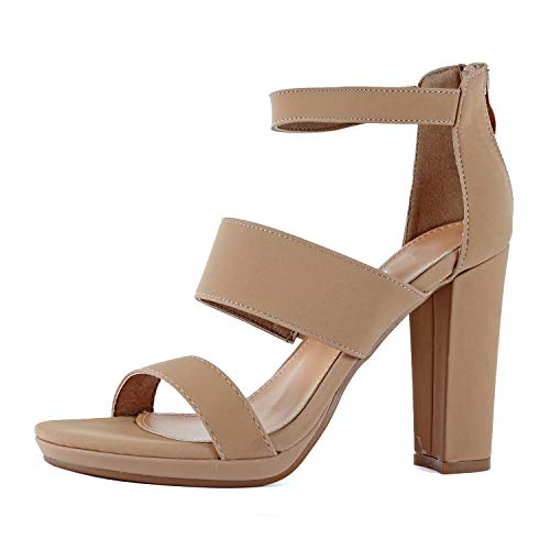 Guilty Shoes Womens Platform Ankle Strap High Heel - Open Toe Sandal Pump - Formal Party Chunky Dress Heel Sandals (8.5 M US, Tanv2 Nub)