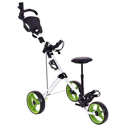 GYMAX Golf Cart, Lightweight Foldable Golf Trolley 3 Wheel Push Cart with Drink Holder Seat Scoreboard Bag