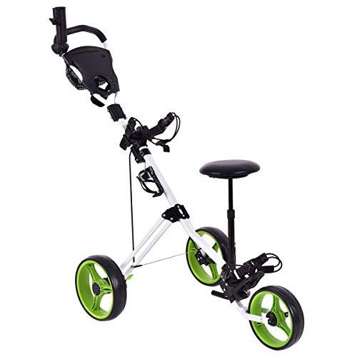GYMAX Golf Cart, Lightweight Foldable Golf Trolley 3 Wheel Push Cart with Drink Holder Seat Scoreboard Bag
