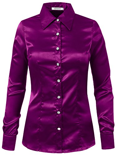 NE PEOPLE Womens Light Weight Long Cuff Sleeve Button Down Satin Shirt