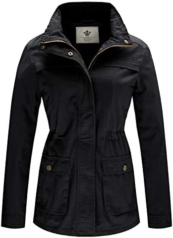WenVen Women's Cotton Stand Collar Casual Military Anoraks Jackets