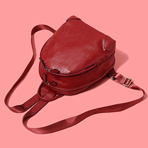 sac ZCM en option main double 2 mode cuir College petit rafraîchissant portable sac bandoulière PU Sac à à à rouge Sac en souple PU dos Vin dos couleurs à vent w0prwU