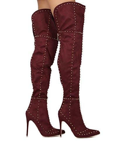 Alrisco Kvinnor Spetsiga Tå Stilett Otk Låret Hög Dubbade Stilett Boot - Dressat Parti Cosplay Dräkt Speciellt Tillfälle Tall Boot - He63 Mackin J Samling Vin Faux Mocka