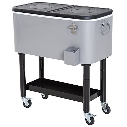 Outsunny 80Qt Outdoor Rolling Cooler Cart with Bottle Opener, Catch Tray, and Drain Plug - Grey/Black