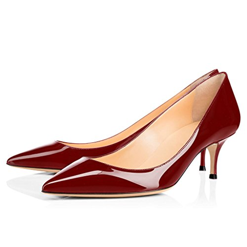 5CM EDEFS Chaussures Heel Fermé 6 Pointu Bout Femme Burgundy Sexy Escarpins Kitten qxawgxOI