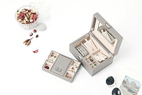 Vlando Wooden Jewelry Box, Jewelry Organizer and Storage- Grey by Vlando (Image #6)