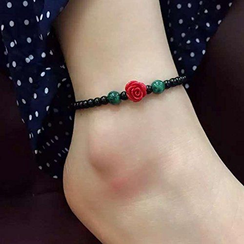 TKHNE Wood qualities natural black onyx malachite Foot Chain anklet ankle chain can adjust size original national wind Foot Chain anklet ankle chain