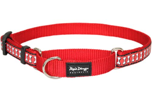 Red Dingo Reflective Martingale Dog Collar, Small, Red