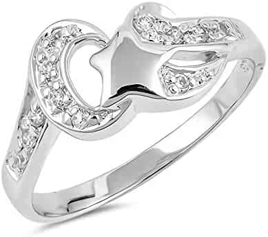 Glitzs Jewels 925 Sterling Silver Ring Cute Jewelry Gift for Women in Gift Box Wave