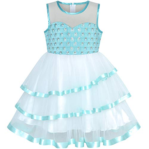 Sunny Fashion Flower Girls Dress Tiered Ruffle Skirt Blue Pageant Size 7