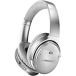 Auriculares Bluetooth con Cancelación de Ruido Bose QuietComfort 35 II: Auriculares externos Inalámbricos con Micrófono Integrado y Control por Voz de Alexa, Plata