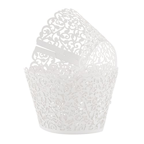 Aiyaya Filigree Artistic Muffin Case Cupcake Paper Cup Liner Little Vine Lace Laser Cupcake Wrappers for Wedding Party Birthday Decoration (white)