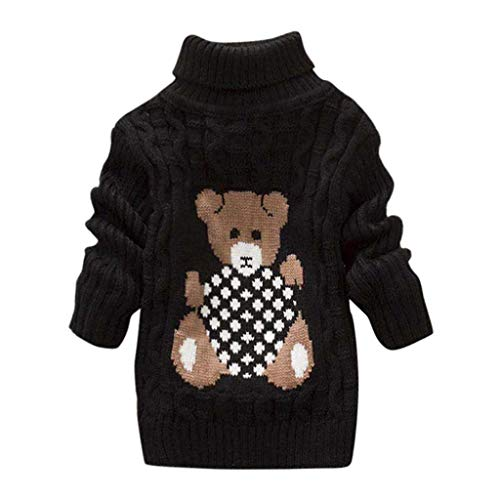 Youmymine Toddler Baby Girls Boy Long Sleeve Sweater Knit Pullover Bear Print Crochet Tops Winter Warm Tee Clothes (3-4Year, Black)