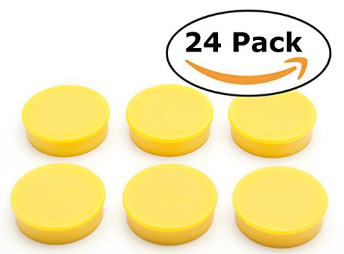 (Bullseye Office Magnets (24 Pack) - Yellow Round, Refrigerator Magnets - Perfect as Whiteboards, Lockers, or Fridge Magnets [Yellow])