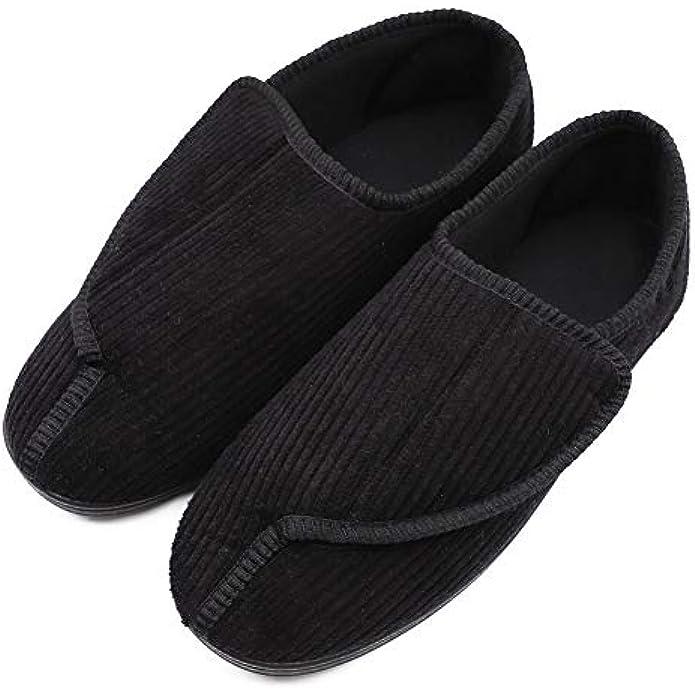 Mens Diabetic Slippers Extra Wide Memory Foam Comfort House Shoes with Adjustable Closure for Swollen Feet, Edema, Arthritis, Elderly Indoor/Outdoor