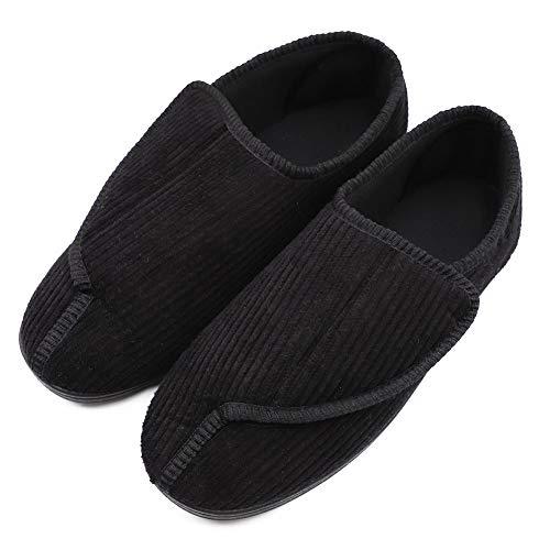 Mens Diabetic Slippers Extra Wide Memory Foam Comfort House Shoes with Adjustable Closure for Swollen Feet, Edema, Arthritis, Elderly Indoor/Outdoor Black