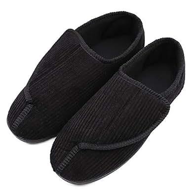 ZTL Men's Memory Foam Adjustable Diabetic Slippers Wide Width House Shoes for Swollen Feet, Edema, Arthritis, Diabetes, Elderly Black Size: 8