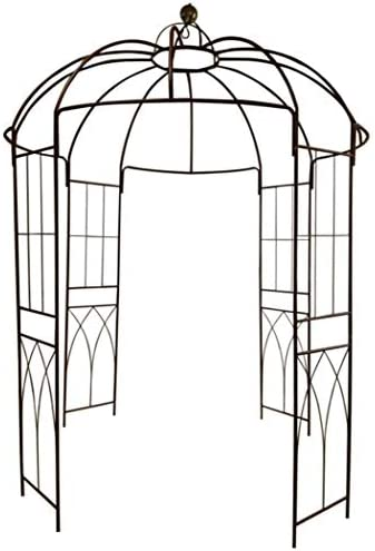 """OUTOUR French Style Birdcage Shape Heavy Duty Gazebo,9'Highx 6'6""""Wide,Pergola Pavilion Arch Arbor Arbour Plants Stand Rack for Wedding Outdoor Garden Lawn Backyard Patio,Climbing Vines,Roses,Dark Rust"""
