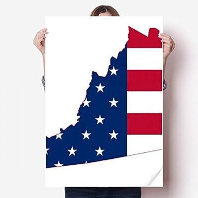 DIYthinker Virginia USA Map Stars Stripes Flag Shape Vinyl Wall Sticker Poster Mural Wallpaper Room Decal 80X55cm
