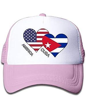 America Cuba Flag Heart On Children's Trucker Hat, Youth Toddler Mesh Hats Baseball Cap