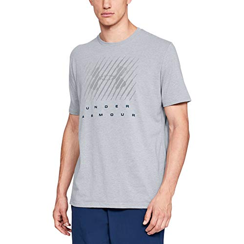 Under Armour Men's Branded Bl Short sleeve, Steel Light Heather (035)/Techno Teal, X-Large