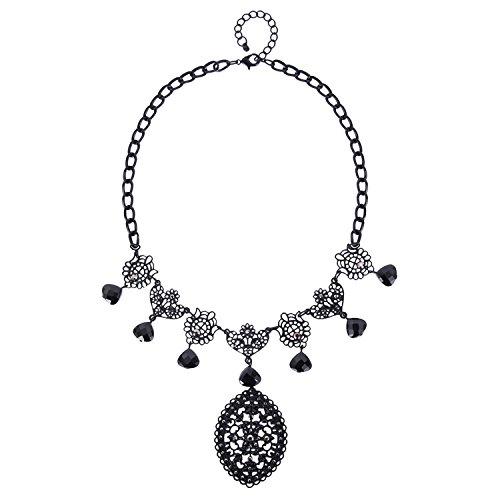 [Veenajo Women Elegant Jewelry Heart Shaped Floral Big Oval Pendant Necklace Black Collar] (Princess Halloween Costumes Diy)