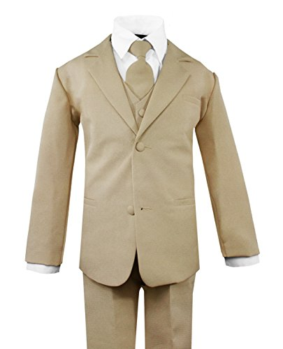 Luca Gabriel Toddler Boys' 5 Piece Classic Fit No Tail Formal Khaki Dress Suit Set with Tie and Vest - Size ()