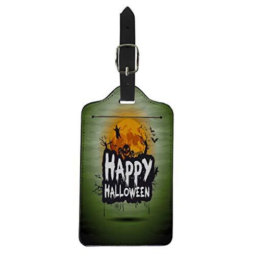 Pinbeam Luggage Tag Happy Halloween Night Sign Text Flying Moon Party Suitcase Baggage Label ()