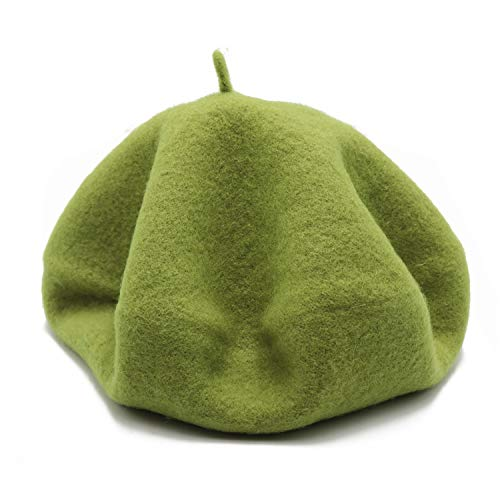 Wheebo Wool Beret Hat,Solid Color French Style Winter Warm Cap for Women Girls ... (Green) (Us Army Beret Colors)