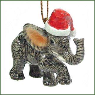 Christmas Elephant - ELEPHANT Baby w/SANTA HAT Christmas Ornament Figurine MINIATURE Porcelain NORTHERN ROSE New R304