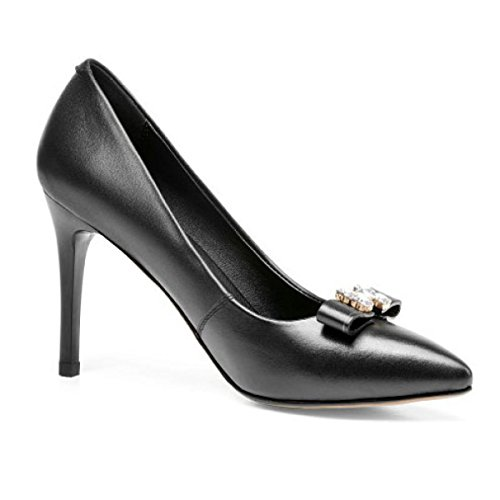 Shallow Shoes Heel heeled Shoes Black Leather Court Sexy Wedding High Pumps Rhinestones Women Prom Party Stiletto Shoes Stylish Evening High Bow wOxInv