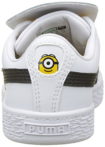 Puma Unisex-Kinder Minions Basket Tongue PS Sneaker Weiß (Puma White-Puma Black-Minion Yellow)